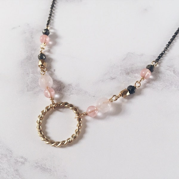 New moon necklace twisted circle necklace brass & pink image 1