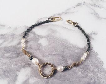 Small New Moon bracelet, twisted circle bracelet, brass & white freshwater pearls, new life bracelet
