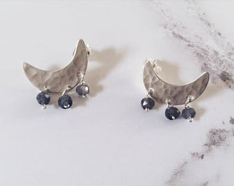 Sterling silver crescent moon stud earrings, blue iolite gemstones, night sky earrings, celestial minimal moon earrings