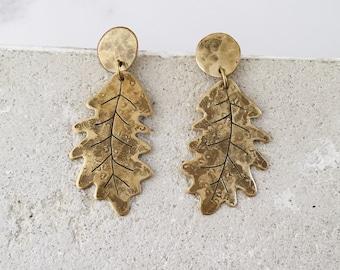 Oak leaf post dangle earrings, gold shade brass, woodland jewelry, inner strength jewelry