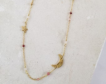 Pastel Starry Night necklace, gold brass and rose pink crystal gemstone beads, boho chic long necklace