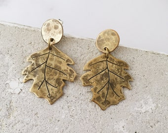 Golden sycomore leaf earrings, post dangle earrings, nature lover woodland witch jewelry