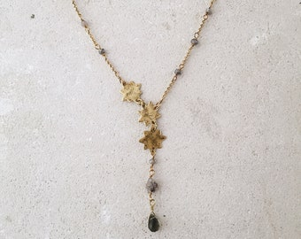 Three Stars constellation necklace, Northern star necklace, brass labradorite herkimer diamonds, gypsy soul gift