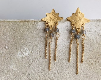 North Star post earrings with labradorite gemstones, 22kt gold plated or simple brass
