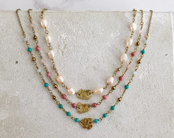 Colourful gemstone pearls beaded necklace, Brass pebble short necklace, memory jewellery