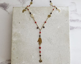 Cosmic amulet rosary necklace, hand pendant, stars and moon necklace, red bamboo coral, garnet and jasper
