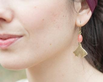 Ginkgo biloba earrings, brass & pink beads, strength resistance jewelry, leaf earrings