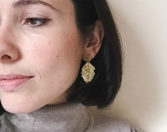Ash leaf earrings, post dangle leaf earrings, gold brass leaf, earth inspired jewelry