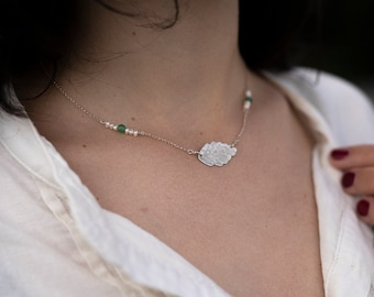 Sterling silver ash leaf necklace, freshwater pearls & green aventurine, Leaf-Life collection, minimal simple necklace