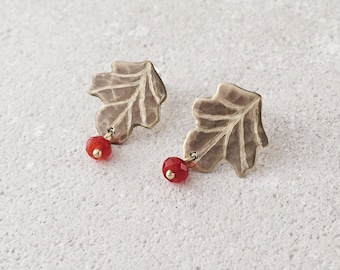 Sycamore leaf earrings, small leaf post earrings, orange carnelian and brass, Leaf-Life collection, Autumn leaf earrings