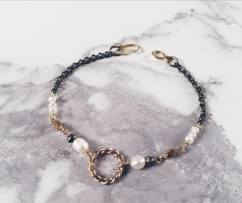 Small New Moon bracelet twisted circle bracelet brass & image 0