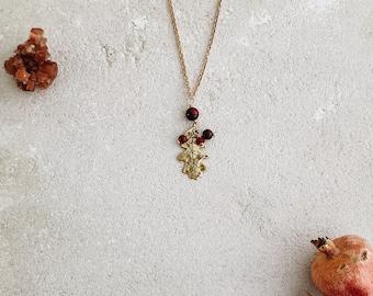 English oak leaf pendant, brass leaf, dark red, rust orange and brown gemstones, Leaf-Life collection, strength amulet