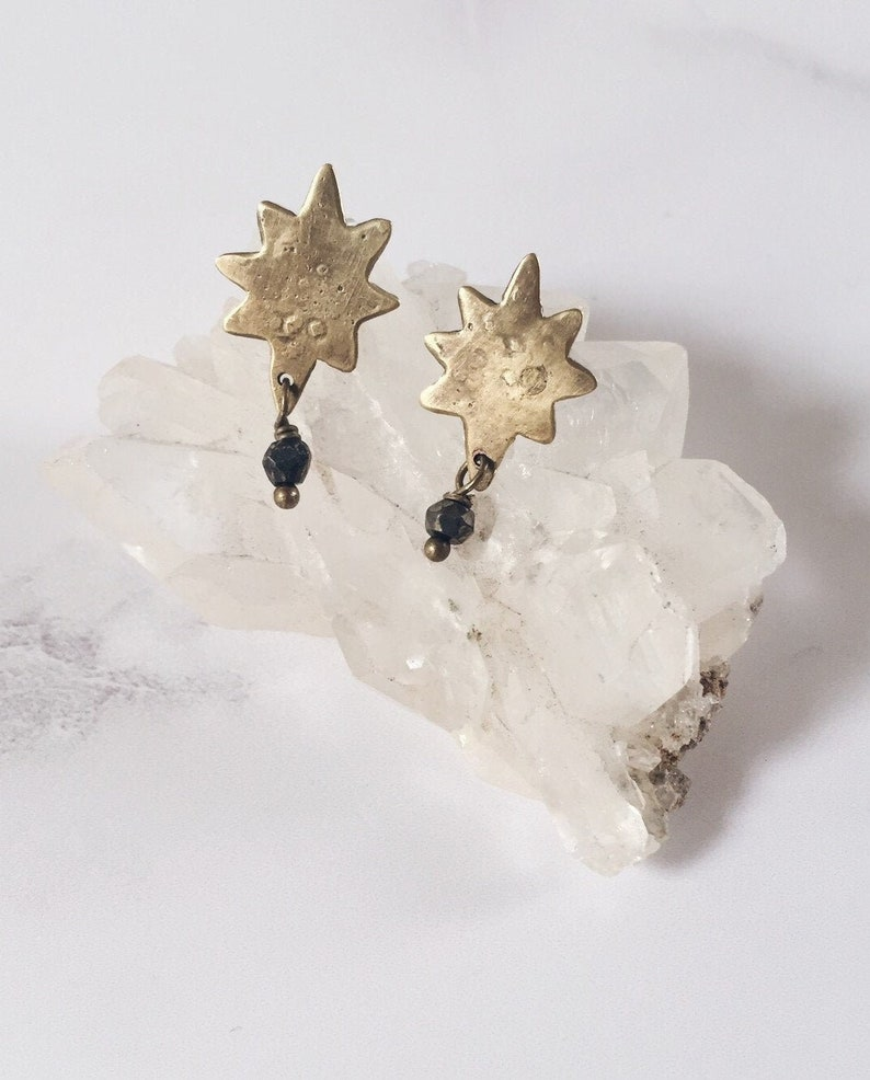 Northern Star post earrings brass and pyrite gemstones image 0