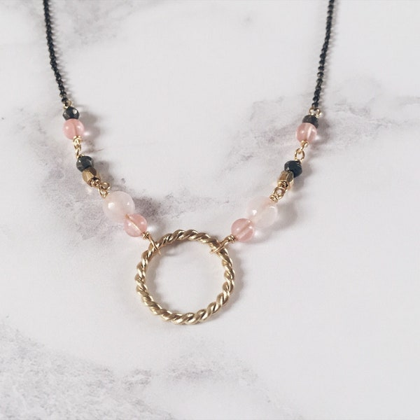 New moon necklace twisted circle necklace brass & pink image 3