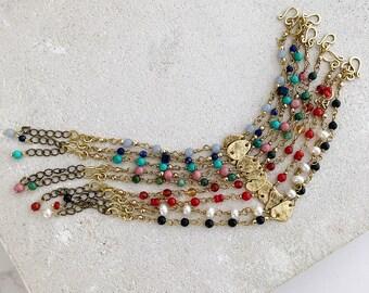 Brass pebble bracelet, colourful gemstone beaded bracelet, summer memories bracelet