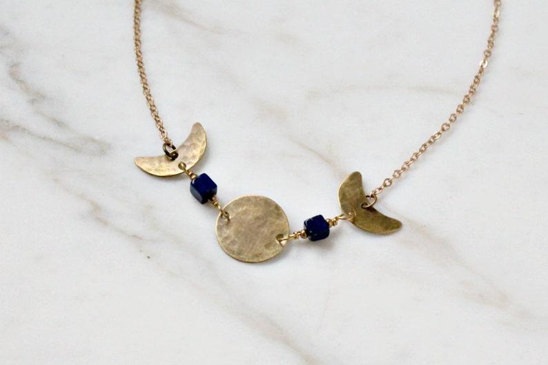 f1bbc8fdd3b676 Mystic moon phases necklace brass & lapis lazuli gemstones | Etsy