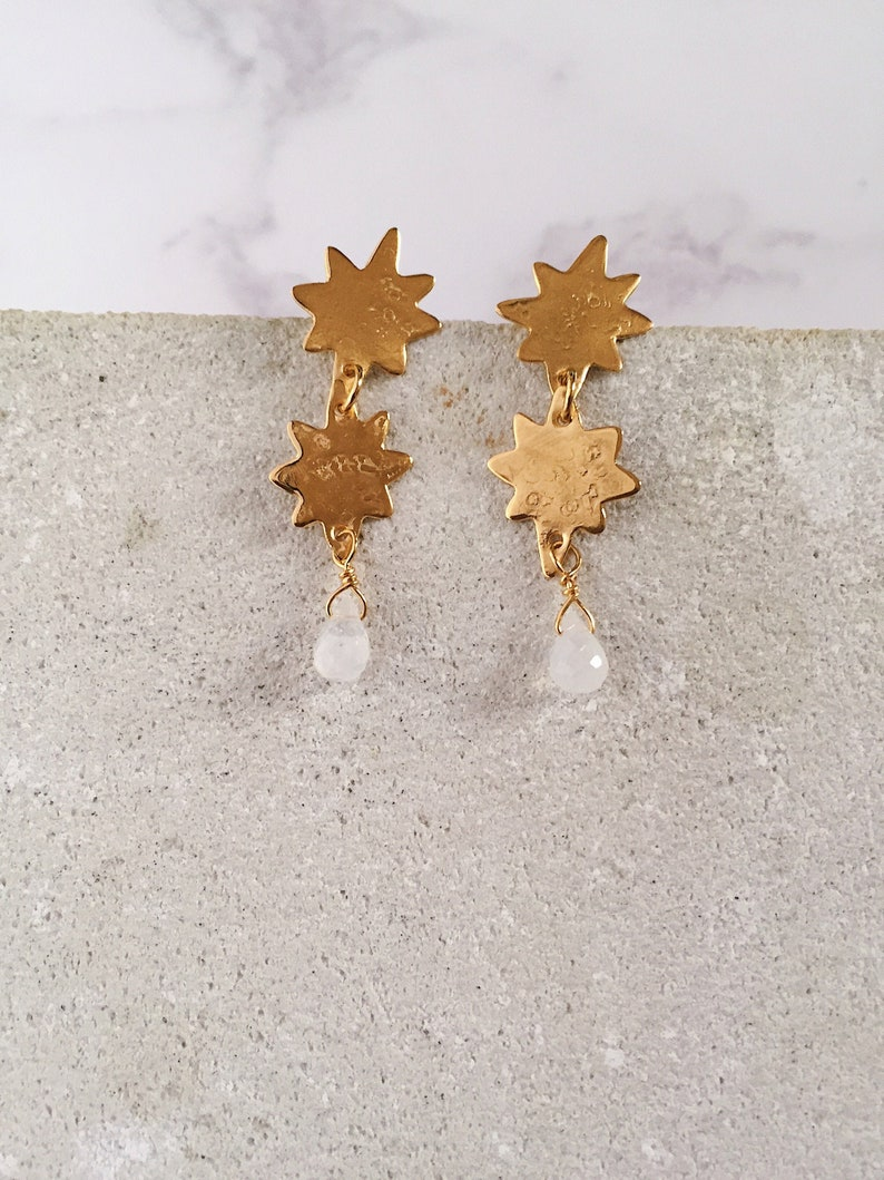 Double Stars post earrings brass and white labradorite 22kt image 0