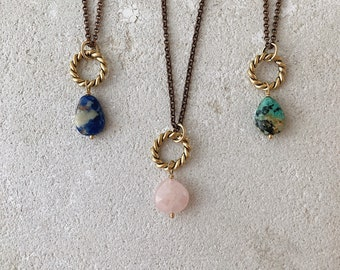 New moon simple necklace, twisted ring, african turquoise rose quartz blue sodalite, gemstone new moon stacking necklace