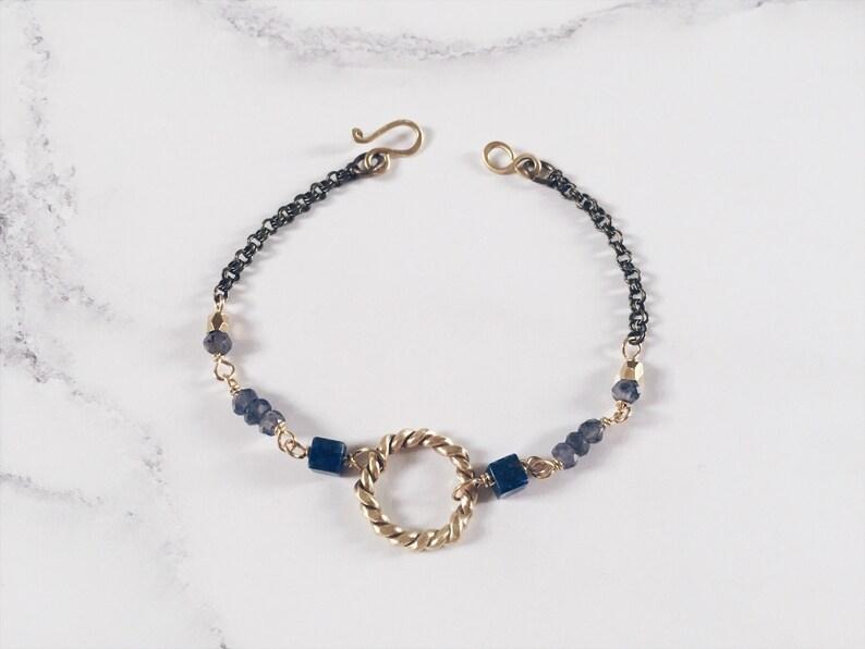 New Moon bracelet lapis lazuli blue iolite twisted ring image 0