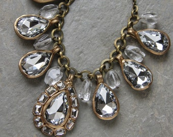 Clear crystal glass stone drop necklace with cloud quartz (N-4098)