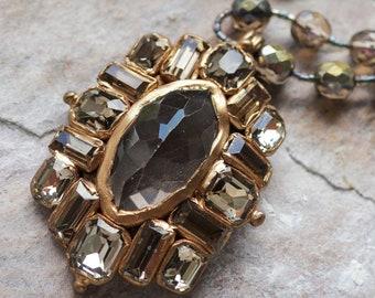 Smoky quartz and crystal rhinestones cross pendant necklace (N-5128)