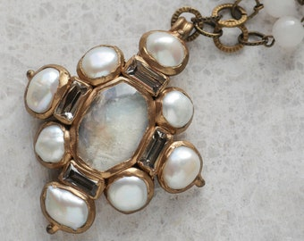 Beige textured glass cabochon and freshwater pearls cross pendant(N-4980)