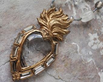 Cloudy tourmalinated quartz cabochon Sacred Heart pendant (N-5117)