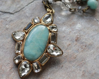 Amazonite and clear crystal rhinestones, oval-shaped cross pendant necklace (N-4828)