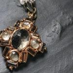 Pale smoky quartz cross pendant with crystal glass rhinestones (N-4328)