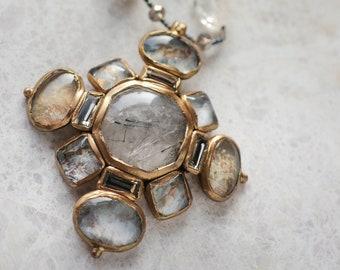Tourmalinated  quartz cabochon cross pendant necklace (N-5107)