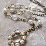 Rutilated quartz and freshwater pearls long chain oval-shaped pendant (N-3796)