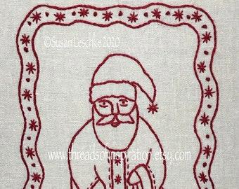 Redwork Santa Hand Embroidery PDF Instant Download Pattern
