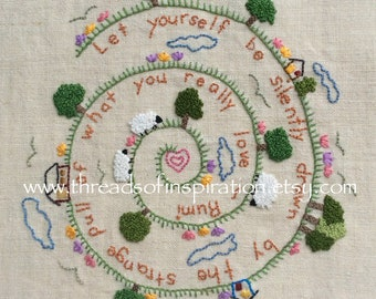 Rumi Wisdom, Embroidery Pattern pdf, Instant Download, Beginning Embroidery, DIY Embroidery Pattern, Sheep