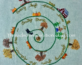 Autumn Trees, Embroidery Pattern PDF, Instant Download, DIY Embroidery Pattern, Scarecrow, Pumpkins, Fall, Charlotte Bronte, Acorn, Cats