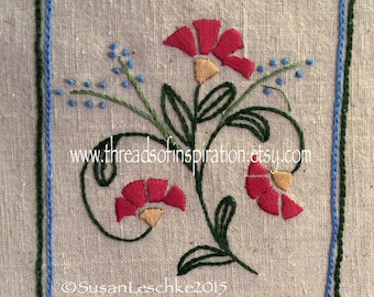 Craftsman Coneflower, Embroidery Pattern, PDF Pattern, Instant Download, Beginning Embroidery, Hand Embroidery Pattern, Beginner Embroidery