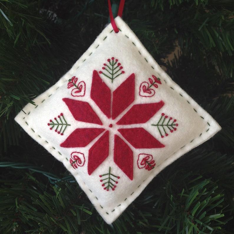 Scandinavian Inspired Felt Embroidered Christmas Ornament Downloadable Pdf Pattern Felt Ornaments Felt Christmas Ornaments Holiday Ornament
