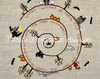 Tis Near Halloween, Embroidery Pattern, pdf Instant Download, DIY, Intermediate embroidery pattern, Pumpkins, Witches, Mummy, Little Devil