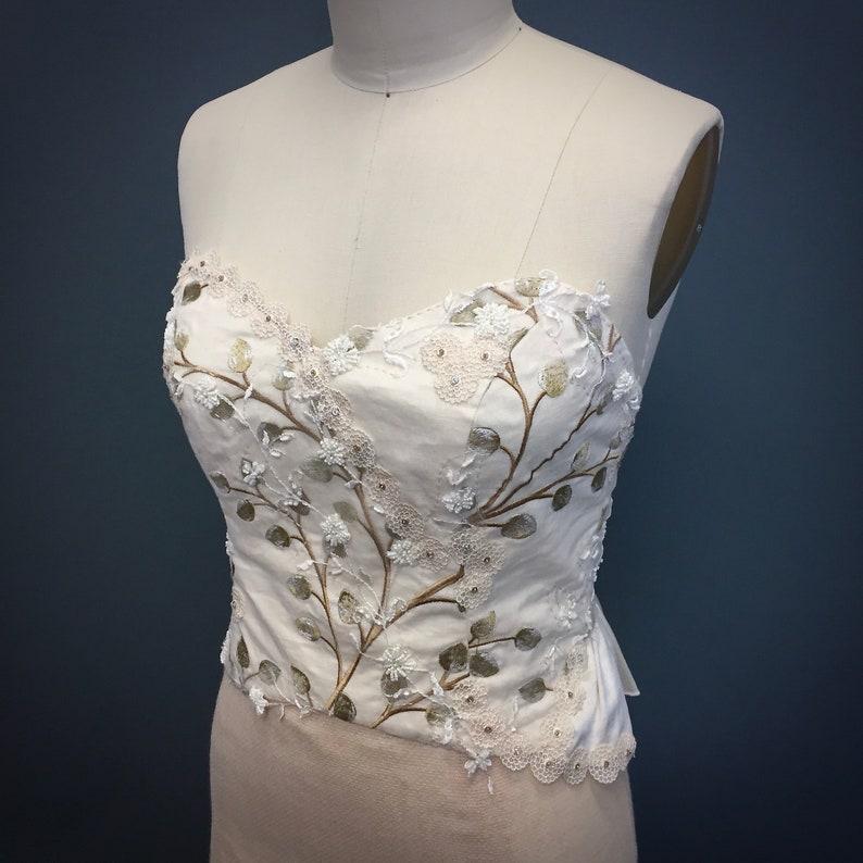 Bridal Corset Boho Bride Outdoor Wedding Flowers Bridal Applique Embellished Foliage Vines Nature-Inspired