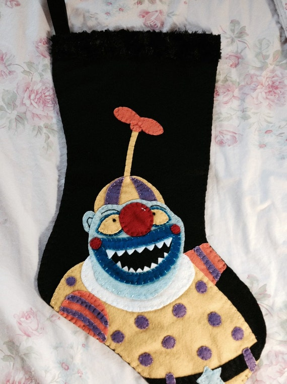 Nightmare Before Christmas Clown With A Tear Away Face.Nightmare Before Christmas Inspired Clown With The Tearaway Face Stocking Hand Embroidered Felt