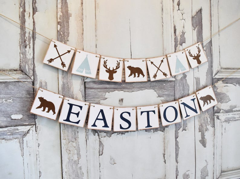 Custom Personalized Name Banner it/'s a boy banner deer baby shower baby shower banner Woodland Nursery Decor Woodland Baby Shower Decor