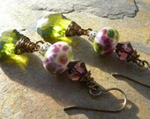 Artisan lampwork and baroque cut Olive green Swarovski crystal wire wrapped EARRINGS
