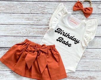 First Birthday Outfit Girl, 1st Birthday Girl Outfit, Baby Girl Birthday Skirt, Birthday Babe, Fall Smash Cake Outfit