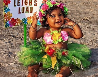 f3f1f5e36254 1st Birthday Girl Outfit - Luau Birthday Tutu - Green and Pink