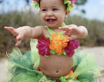 Baby Luau Outfits Luau Party Luau Dress First Birthday Girl Outfit Luau Tutu Flower Crown Headband  sc 1 st  Etsy & Luau outfit | Etsy