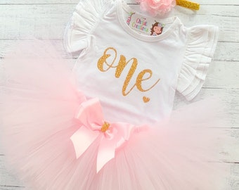 64a019ec2 1st Birthday Outfit - Baby Girl First Birthday Tutu - Pink and Gold Birthday  Party - Smash Cake Outfit - Trendy Baby Outfit