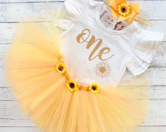 9ecc3b5264e Sunflower 1st Birthday Girl Outfit
