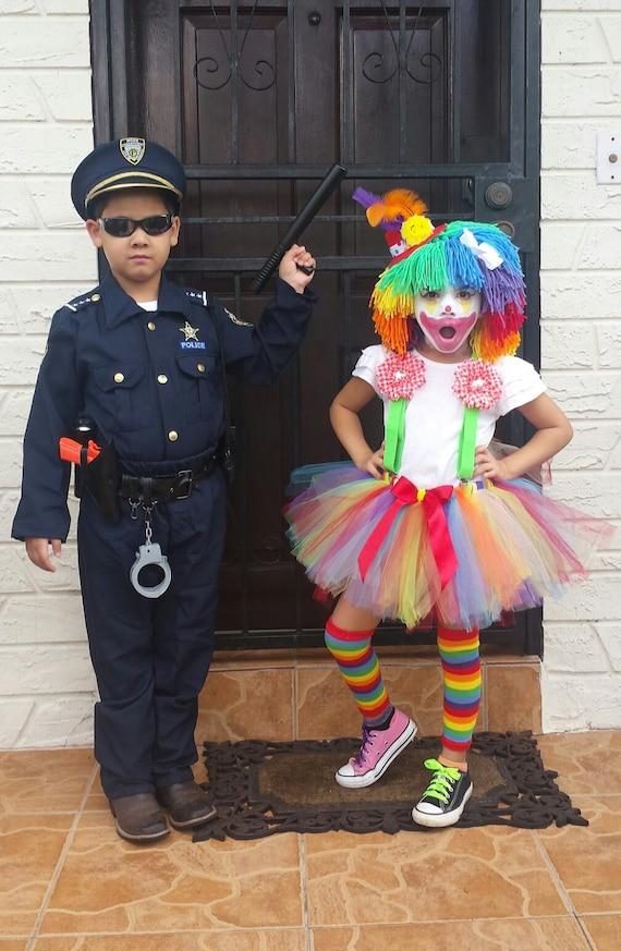 Halloween Clown Girl Outfit.Girl Clown Costume Girl Halloween Costume Hat Tutu Suspenders And Leg Warmers
