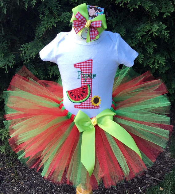 Baby Girl 1st Birthday Outfit Watermelon 1st Birthday Tutu