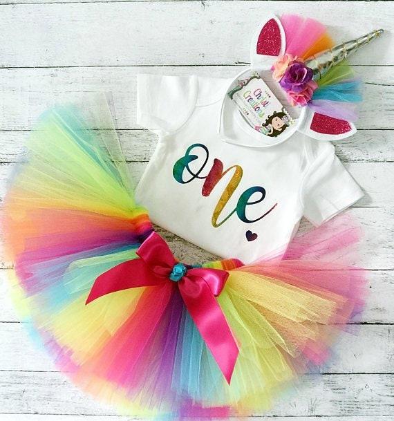 Girls 1st Birthday Tutu cake smash Unicorn Rainbow photo Outfit