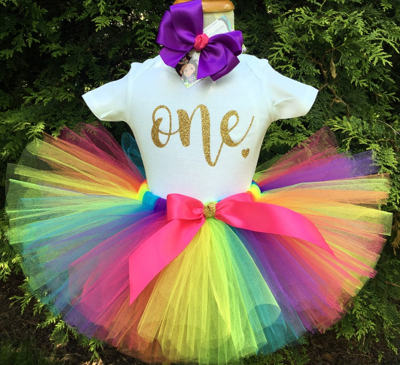 5bbd0f3c6 Rainbow First Birthday Outfit Gold ONE Bodysuit Rainbow | Etsy